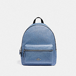 MEDIUM CHARLIE BACKPACK - F66853 - DENIM/SILVER