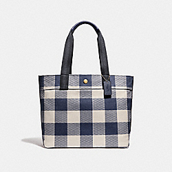 COACH F66867 Tote With Buffalo Plaid Print MIDNIGHT/LIGHT GOLD