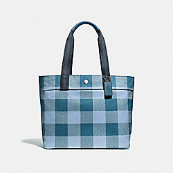 COACH F66867 Tote With Buffalo Plaid Print CORNFLOWER/SILVER