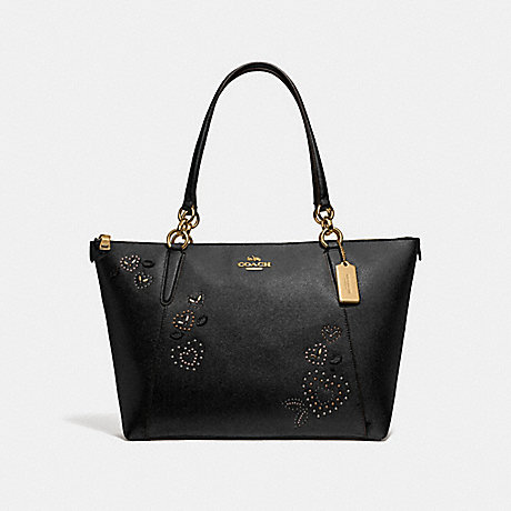 COACH F66871 AVA TOTE WITH HEART BANDANA RIVETS<br>蔻驰AVA手提包与心头巾铆钉 黑/MULTI/仿金