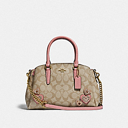 MINI SAGE CARRYALL IN SIGNATURE CANVAS WITH HEART APPLIQUE - F66873 - KHAKI MULTI /IMITATION GOLD