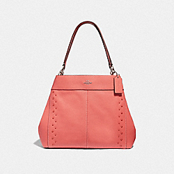 LEXY SHOULDER BAG WITH STUDS - F66874 - CORAL/SILVER