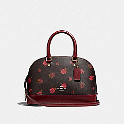 MINI SIERRA SATCHEL WITH TOSSED PEONY PRINT - F66878 - OXBLOOD 1 MULTI/IMITATION GOLD
