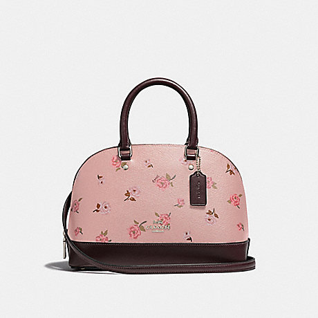 COACH F66878 MINI SIERRA SATCHEL WITH TOSSED PEONY PRINT PETAL MULTI/SILVER