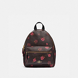 MINI CHARLIE BACKPACK WITH TOSSED PEONY PRINT - F66879 - OXBLOOD 1 MULTI/IMITATION GOLD