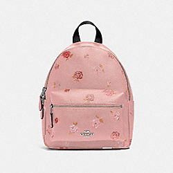 MINI CHARLIE BACKPACK WITH TOSSED PEONY PRINT - F66879 - PETAL MULTI/SILVER