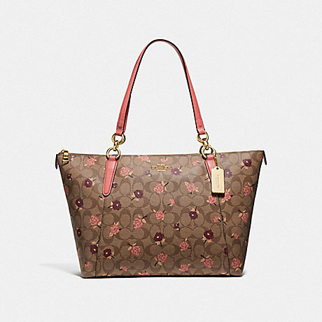 COACH F66880 AVA TOTE IN SIGNATURE CANVAS WITH TOSSED PEONY PRINT KHAKI/PINK MULTI/IMITATION GOLD