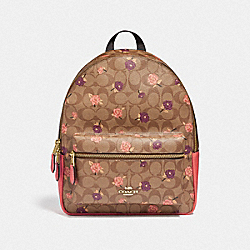 MEDIUM CHARLIE BACKPACK IN SIGNATURE CANVAS WITH TOSSED PEONY PRINT - F66881 - KHAKI/PINK MULTI/IMITATION GOLD