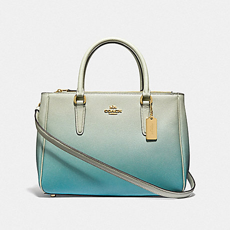 COACH F66884 SURREY CARRYALL WITH OMBRE<br>蔻驰萨里包与OMBRE 绿色多/仿金