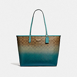 REVERSIBLE CITY TOTE IN OMBRE SIGNATURE CANVAS - F66885 - KHAKI/MARINE MULTI/IMITATION GOLD
