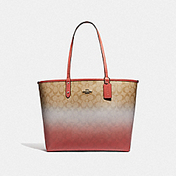 REVERSIBLE CITY TOTE IN OMBRE SIGNATURE CANVAS - F66885 - LIGHT KHAKI/PINK MULTI/SILVER