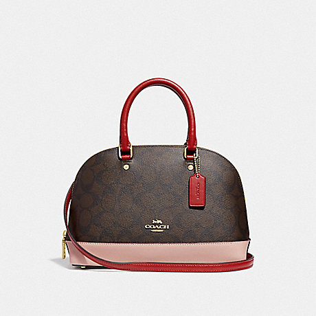 COACH F66894 MINI SIERRA SATCHEL IN COLORBLOCK SIGNATURE CANVAS BROWN BLACK/PINK MULTI/IMITATION GOLD