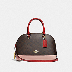 MINI SIERRA SATCHEL IN COLORBLOCK SIGNATURE CANVAS - F66894 - BROWN BLACK/PINK MULTI/IMITATION GOLD