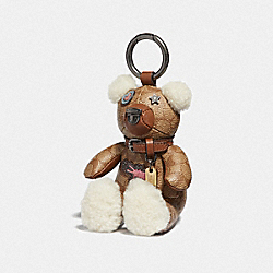 COACH F66903 - KEITH HARING PATCHES BEAR BAG CHARM KHAKI/BLACK