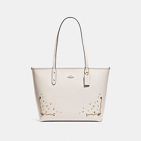 COACH F66906 CITY ZIP TOTE WITH STARDUST CRYSTAL RIVETS CHALK-MULTI/IMITATION-GOLD