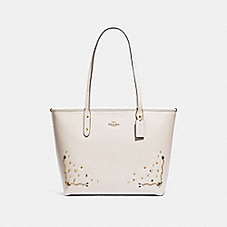 COACH F66906 City Zip Tote With Stardust Crystal Rivets CHALK MULTI/IMITATION GOLD