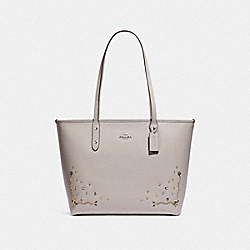 COACH F66906 - CITY ZIP TOTE WITH STARDUST CRYSTAL RIVETS GREY BIRCH MULTI/SILVER