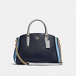 COACH F66910 - SAGE CARRYALL IN COLORBLOCK MIDNIGHT MULTI/IMITATION GOLD