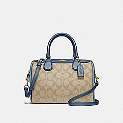 MINI BENNETT SATCHEL IN COLORBLOCK SIGNATURE CANVAS - F66912 - LIGHT KHAKI/MULTI/IMITATION GOLD