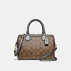 MINI BENNETT SATCHEL IN COLORBLOCK SIGNATURE CANVAS - F66912 - KHAKI MULTI /IMITATION GOLD
