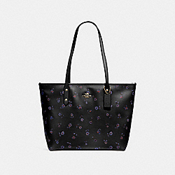 CITY ZIP TOTE WITH VINTAGE PRAIRIE PRINT - F66915 - BLACK/MULTI/IMITATION GOLD