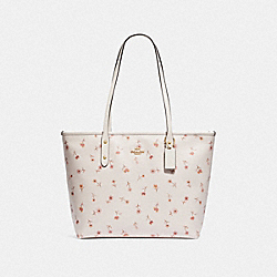 COACH F66915 City Zip Tote With Vintage Prairie Print CHALK MULTI/IMITATION GOLD