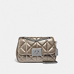 CASSIDY CROSSBODY WITH STUDDED DIAMOND QUILTING - F66923 - PLATINUM/SILVER