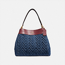 LEXY SHOULDER BAG WITH QUILTING - F66925 - DENIM/LIGHT GOLD