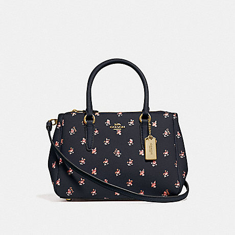 COACH MINI SURREY CARRYALL WITH FLORAL DITSY PRINT - MIDNIGHT MULTI/GOLD - F66928