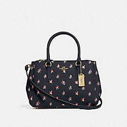 COACH F66928 Mini Surrey Carryall With Floral Ditsy Print MIDNIGHT MULTI/GOLD