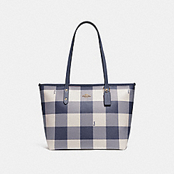COACH F66929 - CITY CIP TOTE WITH BUFFALO PLAID PRINT MIDNIGHT/LIGHT GOLD