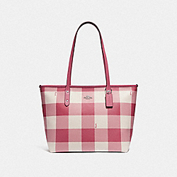 COACH F66929 City Cip Tote With Buffalo Plaid Print STRAWBERRY/SILVER