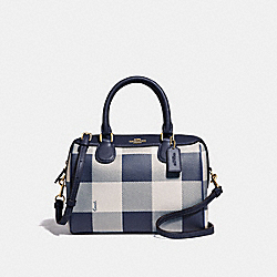 MINI BENNETT SATCHEL WITH BUFFALO PLAID PRINT - F66930 - MIDNIGHT/LIGHT GOLD