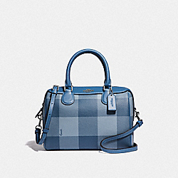 MINI BENNETT SATCHEL WITH BUFFALO PLAID PRINT - F66930 - CORNFLOWER/SILVER