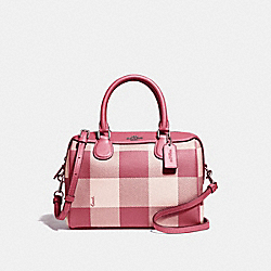 MINI BENNETT SATCHEL WITH BUFFALO PLAID PRINT - F66930 - STRAWBERRY/SILVER