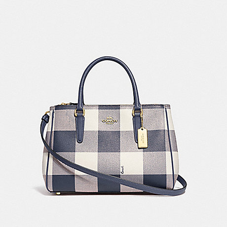 COACH F66931 SURREY CARRYALL WITH BUFFALO PLAID PRINT MIDNIGHT/LIGHT-GOLD