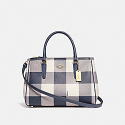 COACH F66931 - SURREY CARRYALL WITH BUFFALO PLAID PRINT MIDNIGHT/LIGHT GOLD