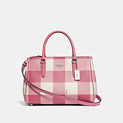 COACH F66931 Surrey Carryall With Buffalo Plaid Print STRAWBERRY/SILVER