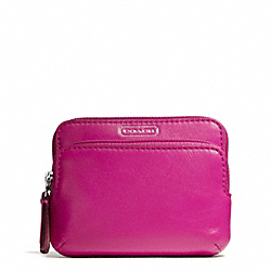 COACH F66938 Campbell Leather Double Zip Coin Wallet SILVER/FUCHSIA
