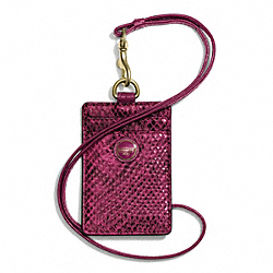 COACH F66944 - SIGNATURE STRIPE EMBOSSED SNAKE LANYARD ID ONE-COLOR