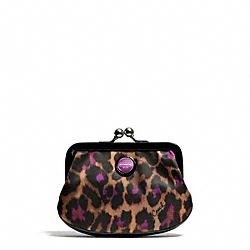 COACH F66951 Signature Stripe Ocelot Print Framed Coin Purse