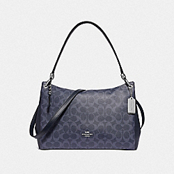 MIA SHOULDER BAG IN SIGNATURE CANVAS - F66973 - DENIM/SILVER