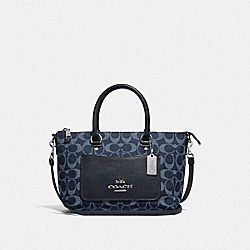 MINI EMMA SATCHEL IN SIGNATURE DENIM - F66974 - DENIM/SILVER