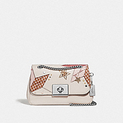CASSIDY CROSSBODY WITH STAR PATCHWORK - F66983 - CHALK MULTI/SILVER