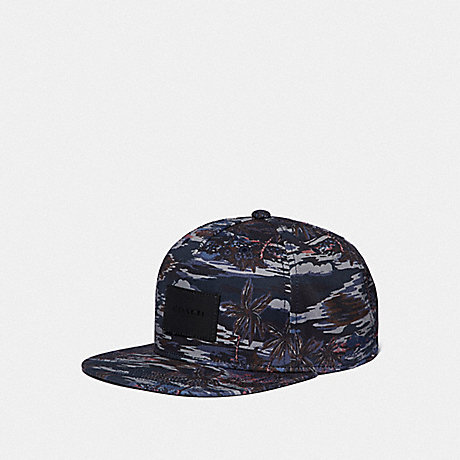 COACH F66986 HAWAIIAN PRINT FLAT BRIM HAT BLACK HAWAIIAN