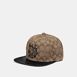 COACH F66987 Keith Haring Signature Flat Brim Hat KHAKI SIGNATURE