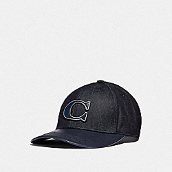 COACH F66989 - DENIM VARSITY CAP RAW DENIM