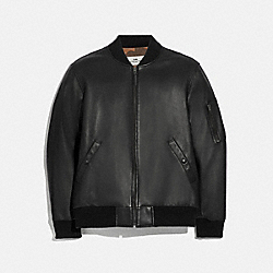 LEATHER MA-1 JACKET - F66997 - BLACK