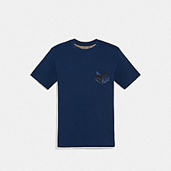 COACH F67013 - PATCHWORK T-SHIRT BRIGHT NAVY