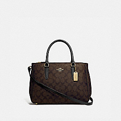 COACH F67026 Surrey Carryall In Signature Canvas BROWN/BLACK/IMITATION GOLD